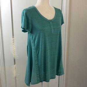 LC Lauren Conrad turquoise Henley t-shirt stripes